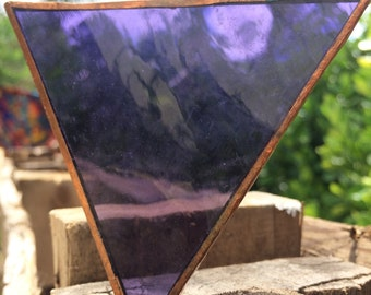 GLASS SUPPLIES...1 purple glass framed in copper, handmade stained glass window ~ boho rustic cottage ~ stained glass art ~ office decor