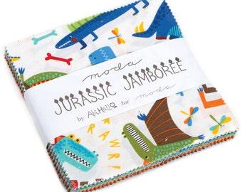 "Jurassic Jamboree Moda Charm Pack, 42 -  5"" precut fabric quilt squares by Abi Hall"