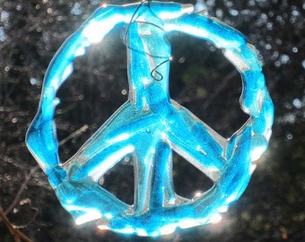 Aqua Blue Fused Glass Peace Sign Suncatcher Wall Hanging