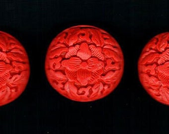 3pcs Floral Flower Red Cinnabar Pendant Focal Bead 32mm Round Coin Shape
