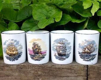 FREE SHIPPING-Vintage-Set of 4-Hand Painted Clipper Ship Porcelain/Ceramic Mugs-Nautical-Coastal-Kitchen Decor-Mancave-Coffee/Tea Mugs