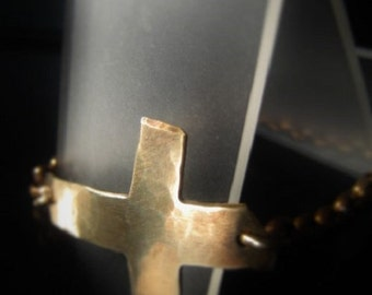 Gold Sideways Cross Bracelet Brass Gold Chain Bracelet Item No. 0617