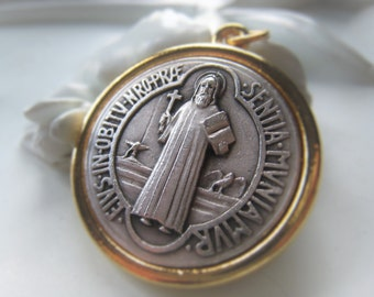 St Benedict Pendant Necklace Religious Medal Coin Pendant Silver and Gold Saint Pendant  Item No. 9295
