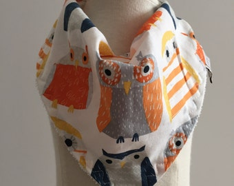 wildwood owls in multi  ~ bandana bib ~ drool bib ~ dear stella ~ owl bandana bib from lillybelle designs