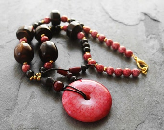 Tribal Necklace, Statement Necklace, Chunky Necklace, Beaded Necklace, Bold, Big Bead Necklace, Blood Moon Jade Pendant Beaded Necklace