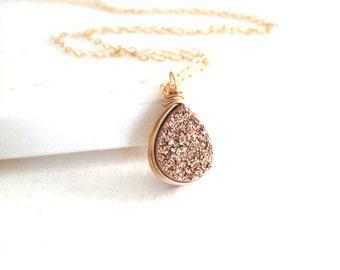 Rosegold druzy teardrop necklace gold druzy jewelry Gift for her Under 55 Vitrine Designs