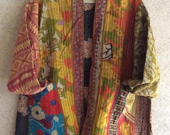 Kantha vintage quilt jacket in plus size