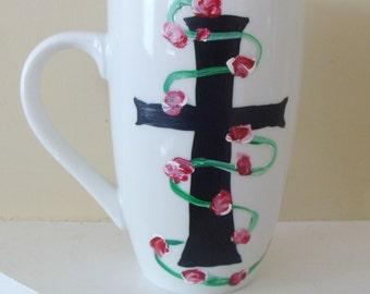 Holy Cross Mug, Pink Roses mug, Cup, God, Bible, Goth, Coffee, tea, religion, Hand Painted