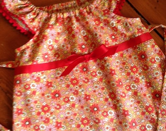SALE!! Size 3/4 Ready to ship--Orange and Pink flowered Spring dress children child girl