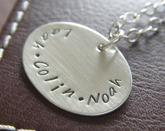 Personalized Charm Necklace - Custom Sterling Silver Hand Stamped Jewelry - Oval Charm with Names and Optional Birthstone or Pearl
