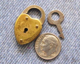 Heart Padlock & Key Mini Antique Brass Rivet Lock Made in the USA Diy Repurpose Jewelry Hardware