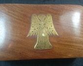 Vintage Wooden Jewelry or Trinket Storage Box with Brass Metal Angel