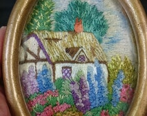 Vintage Miniature Hand Embroidered Scottish Landscape Garden Cottage in Original Wood Frame Embroidery 1930's