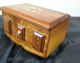 Vintage Miniature Inlaid Wood Doll House Chest Trunk