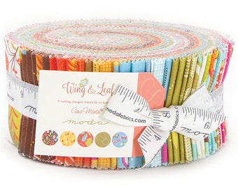 """SALE 50% Off Moda WING & LEAF Jelly Roll 2.5"""" Precut Fabric Quilting Cotton Strips Gina Martin 10060JR"""