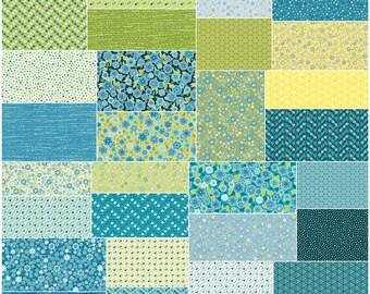 """SQ142 Benartex Soho Calicos Blue Precut 5"""" Charm Pack Fabric Quilting Cotton Squares Maggie & Flos"""