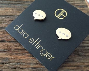 Dara Ettinger Gold Pave Thought Bubblr Stud earrings