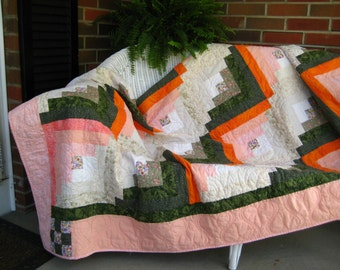 Log Cabin Handmade Quilt--Orange and Green Colors--Amish Country