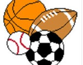 INSTANT DOWNLOAD Chella Crochet Sports Balls Football Soccer Basketball Baseball 100 Afghan Crochet Pattern Graph Chart .PDF