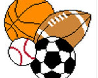 INSTANT DOWNLOAD Chella Crochet Sports Balls Football Soccer Basketball Baseball 100 Afghan Crochet Pattern Graph Chart .PDF