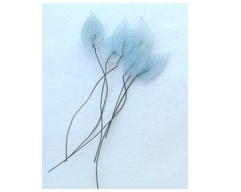 6 Vintage headpin glass leaves embedded on soft wire,light blue, RARE findings