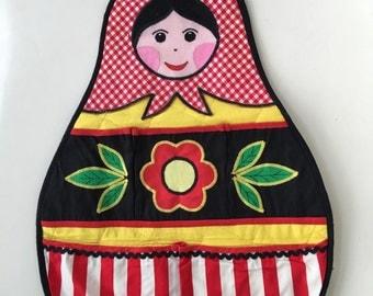 Vintage scandinavian pocket storage hanger child girl face black red bedroom cartoon home decor colkectible fabric rare nesting doll