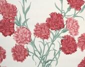 1940's Vintage Wallpaper - Floral Wallpaper Pink Carnations