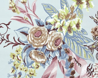 1940s Vintage Wallpaper by the Yard - Plum Yellow and Blue Floral Wallpaper