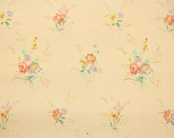 1930s Vintage Wallpaper by the Yard - Antique Floral Wallpaper with Tiny Colorful Bouquets of Flowers