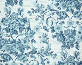 1960s Vintage Wallpaper by the Yard - Blue Roses Damask Retro Floral