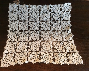 "Delicate Crocheted Square Doily 11""x 12"" D66"