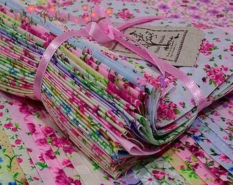 Fabric Cotton Pack Vintage Retro Flower Floral Print 32 Mix Design Fashion Color Precut Bundle Scraps Grab Bag Gift Set Material Collection