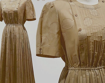 Vintage 60s 70s Dress Boho Bohemian Hippie Retro Mod Pleated Linen Cotton Floral Button Sundress Short Sleeve Full Skirt Women Small Medium