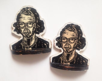 Flannery O'Connor Bookend Set, Bookends, Library Bookends, Flannery O'Connor Handmade Bookends, Linocut Printed Bookends