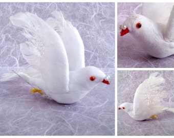 White Dove Craft Bird with Glitter and Real Feather Wings, 3 Dimensional Artificial Bird Figurine, Art & Craft Supply, Wedding Cake Topper