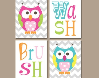 Owl Bathroom Canvas Or Prints Funky Whimsical Owls Girl Owl Theme Sister