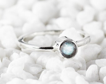 Rainbow Moonstone Ring Sterling Silver Personalized Birthstone