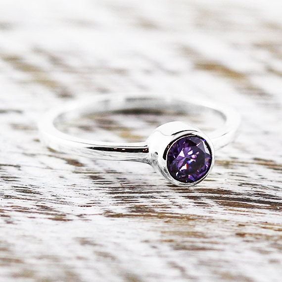 simple amethyst ring custom birthstone promise rings in