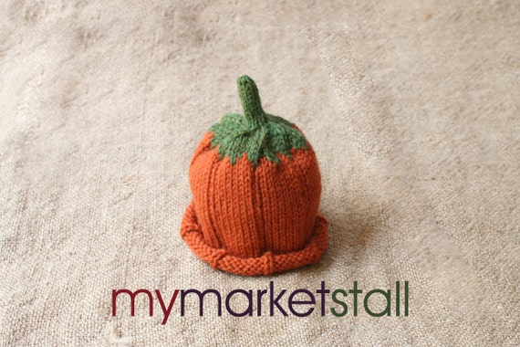 Pumpkin Hat - Sz  0-3 months -Adult Sizes - Ready to Ship