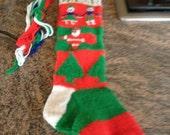 Custom hand knit Christmas stocking