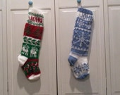 Two hand knit stockings