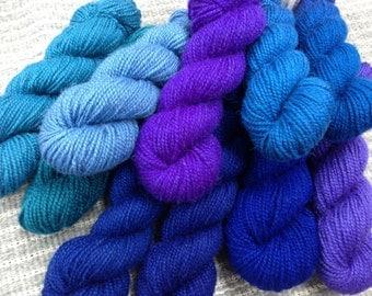 Rauma Rya Yarn from Norway ... Choose any 5 skeins.  100% Virgin wool - blues-purples