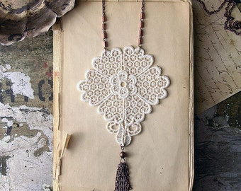 tassel necklace / INGA  / long necklace / lace necklace / bridal jewelry / vintage lace  boho chic ivory necklace