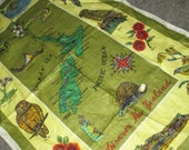 Only 5 Bucks.....Vintage Dark Green and Yellow New Zealand Map Souvenir Linen Kitchen Tea Towel