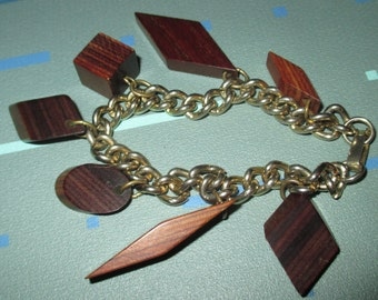 Vintage MOD Mod Century Geometric Shape Wood Charm Dangle Bracelet