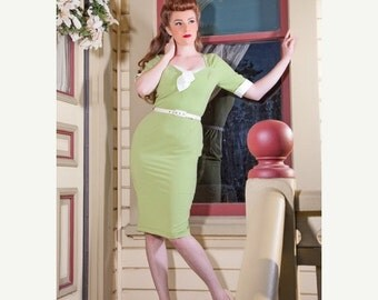 CLEARANCE pinup girl dress Gwen rockabilly clothing 1940s style soft stretch tropical weight Green