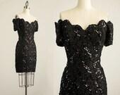 90s Vintage Black Sequin Off Shoulder Body Con Cocktail Party Mini Dress / Size Small / Medium