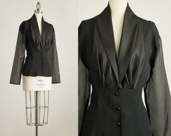 90s Vintage Black Plunging Neckline Button Down Chiffon Blouse / Size Medium / Large
