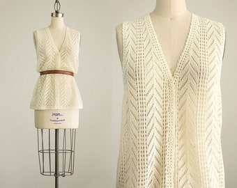 70s Vintage Cream Pointelle Lace Knit Tunic Vest Top / Size Small