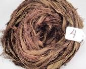 Sari silk ribbon, Silk Sari ribbon, Recycled Silk Sari Ribbon, seaweed brown Fuzzy ribbon,  brown ribbon